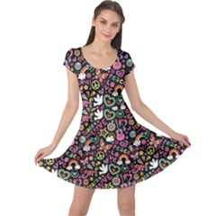 Colorful Peace Love And Music Pattern Groovy Notebook Doodle Cap Sleeve Dress by CoolDesigns