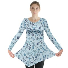 Blue Pattern With Music Notes Long Sleeve Tunic Top by CoolDesigns