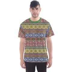 Green Colorful Aztec Pattern With Birds Men s Sport Mesh Tee