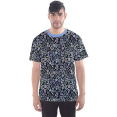 Blue Acoustic Guitars Music Theme Pattern Men s Sport Mesh Tee