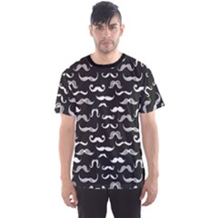 Black Pattern Hipster White Mustache Men s Sport Mesh Tee by CoolDesigns