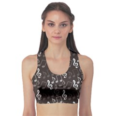 Black Pattern With Music Notes Treble Clef Women s Sport Bra by CoolDesigns