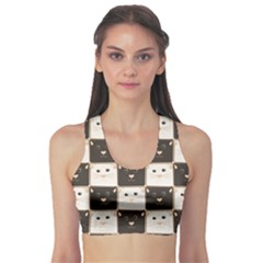 Black Chessboard Made Of Black And White Cats Women s Sport Bra by CoolDesigns