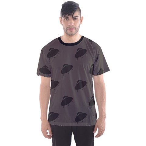 Black Ufo Web Flat Design Gray Pattern Men s Sport Mesh Tee by CoolDesigns