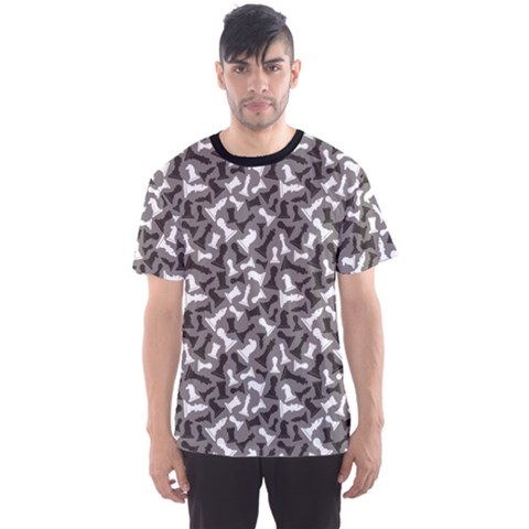 Black Black And White Chess Pieces Gray Pattern Men s Sport Mesh Tee by CoolDesigns
