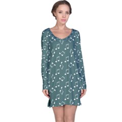 Green Music Elements Notes Gray Pattern Long Sleeve Nightdress by CoolDesigns