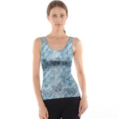 Blue Pink Diagonal Grunge Striped Translucent Pattern With Butterflies Tank Top by CoolDesigns