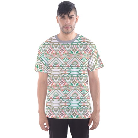 Gray Abstract Geometric Aztec Colorful Pattern Men s Sport Mesh Tee by CoolDesigns