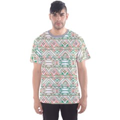 Gray Abstract Geometric Aztec Colorful Pattern Men s Sport Mesh Tee