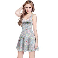 Gray Pattern With Music Notes And Stars Sleeveless Skater Dress by CoolDesigns