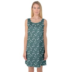 Green Music Elements Notes Gray Pattern Sleeveless Satin Nightdress by CoolDesigns