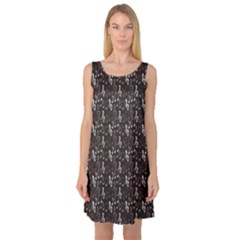 Black Pattern With Music Notes Treble Clef Sleeveless Satin Nightdress by CoolDesigns