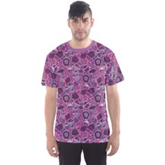 Purple Pattern With Sweet Food Cakes Chocolate Icecream Men s Sport Mesh Tee by CoolDesigns