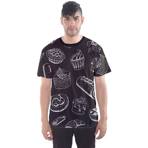 Black Sweet Pastries On Chalkboard Illustration Men s Sport Mesh Tee by CoolDesigns