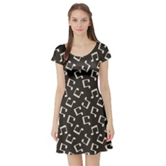 Gray Music Note Doodle Drawing Pattern Short Sleeve Skater Dress by CoolDesigns