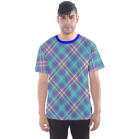 Blue Diagonal Cell Men s Sport Mesh Tee by CoolDesigns