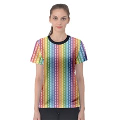 Colorful Striped Rainbow Pattern With Colorful Butterflies Women s Sport Mesh Tee by CoolDesigns
