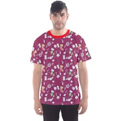 Red Pattern With Christmas Things Men s Sport Mesh Tee by CoolDesigns