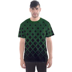 Dark Green Gradient Rhombuses Men s Sport Mesh Tee