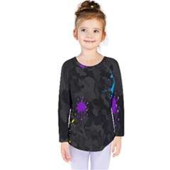 Black Camo Spot Green Red Yellow Blue Unifom Army Kids  Long Sleeve Tee by Alisyart