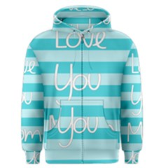 Love You Mom Stripes Line Blue Men s Zipper Hoodie by Alisyart