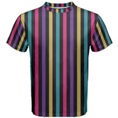 Stripes Colorful Multi Colored Bright Stripes Wallpaper Background Pattern Men s Cotton Tee by Simbadda