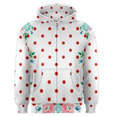 Flower Floral Polka Dot Orange Men s Zipper Hoodie by Mariart