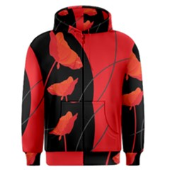 Flower Floral Red Black Sakura Line Men s Zipper Hoodie by Mariart