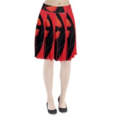 Flower Floral Red Black Sakura Line Pleated Skirt by Mariart