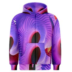 Digital Art Spirals Wave Waves Chevron Red Purple Blue Pink Men s Zipper Hoodie by Mariart