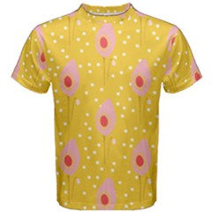 Flower Floral Tulip Leaf Pink Yellow Polka Sot Spot Men s Cotton Tee by Mariart