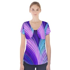 Color Purple Blue Pink Short Sleeve Front Detail Top by Mariart
