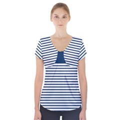 Horizontal Stripes Blue White Line Short Sleeve Front Detail Top by Mariart