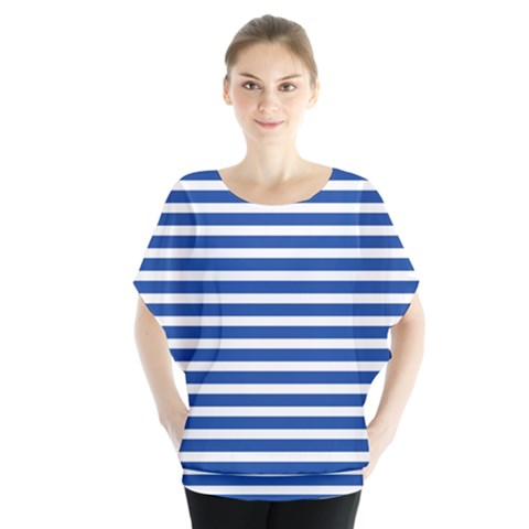 Horizontal Stripes Dark Blue Blouse by Mariart