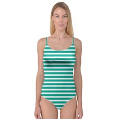 Horizontal Stripes Green Teal Camisole Leotard  by Mariart