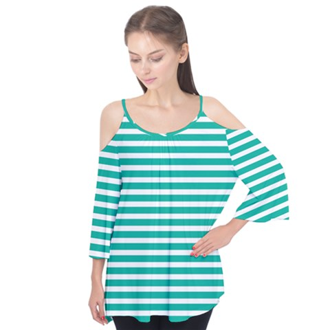 Horizontal Stripes Green Teal Flutter Tees by Mariart