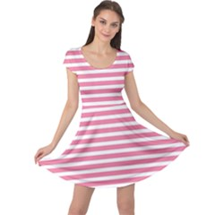 Horizontal Stripes Light Pink Cap Sleeve Dresses by Mariart