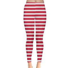 Horizontal Stripes Red Leggings  by Mariart
