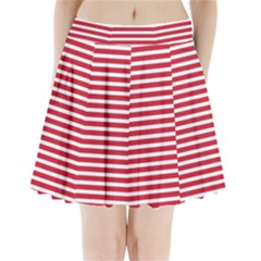 Horizontal Stripes Red Pleated Mini Skirt by Mariart