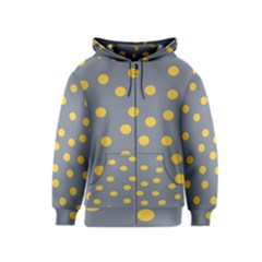 Limpet Polka Dot Yellow Grey Kids  Zipper Hoodie by Mariart