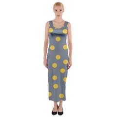 Limpet Polka Dot Yellow Grey Fitted Maxi Dress by Mariart