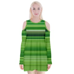 Horizontal Stripes Line Green Velvet Long Sleeve Shoulder Cutout Dress by Mariart