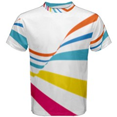Line Rainbow Orange Blue Yellow Red Pink White Wave Waves Men s Cotton Tee by Mariart
