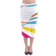 Line Rainbow Orange Blue Yellow Red Pink White Wave Waves Midi Pencil Skirt by Mariart