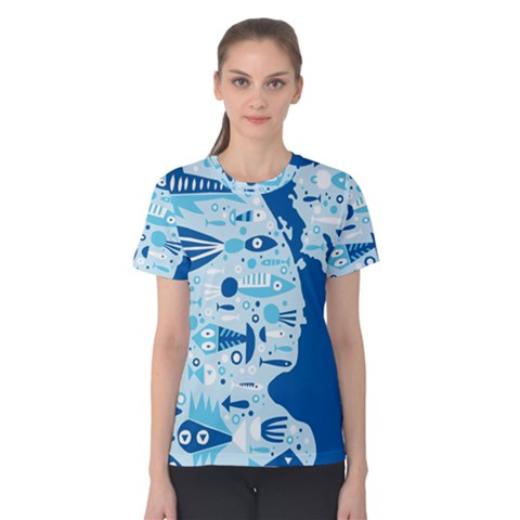 New Zealand Fish Detail Blue Sea Shark Women s Cotton Tee by Mariart