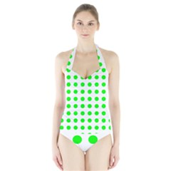 Polka Dot Green Halter Swimsuit by Mariart