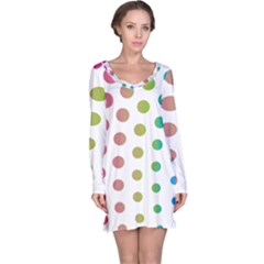 Polka Dot Pink Green Blue Long Sleeve Nightdress by Mariart