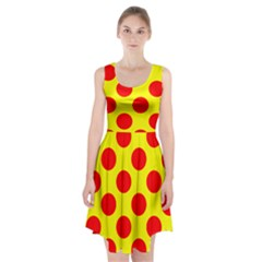 Polka Dot Red Yellow Racerback Midi Dress by Mariart