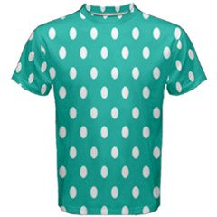 Polka Dots White Blue Men s Cotton Tee by Mariart