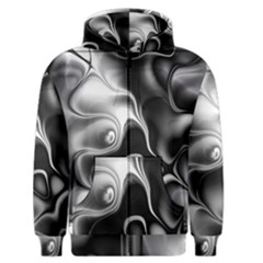 Fractal Black Liquid Art In 3d Glass Frame Men s Zipper Hoodie by Simbadda